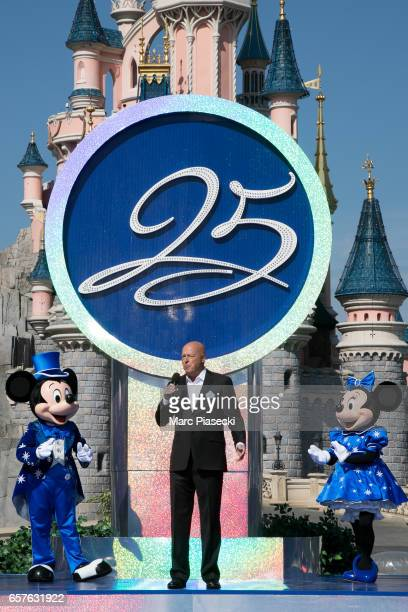 Bob Chapek chairman of Walt Disney Parks and Resorts attends the Disneyland Paris 25th Anniversary opening ceremony at Disneyland Paris on March 25...