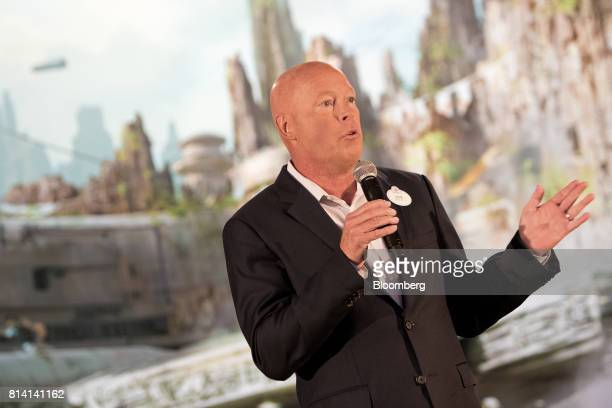 Bob Chapek chairman Walt Disney Parks and Resorts speaks during the unveiling of the Walt Disney Co Star Wars lands 3D model ahead of the D23 Expo in...
