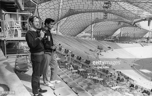 Bob Churchill and John Palin two members of the British Olympic small bore rifle team visit the Olympic Stadium in Munich 24th August 1972
