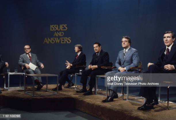 Bob Clark Governor Jimmy Carter Fred R Harris Indiana Senator Birch Bayh US Representative Mo Udall appearing on the ABC news program 'Issues and...