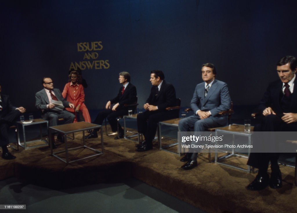 Bob Clark, Margaret 'Peggy' Whedon, Jimmy Carter, Fred R Harris, Birch Bayh, Mo Udall Appearing On 'Issues And Answers' : News Photo