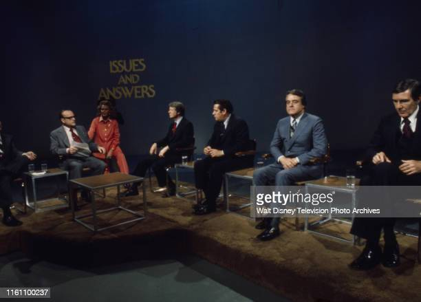 Bob Clark Margaret 'Peggy' Whedon Governor Jimmy Carter Fred R Harris Indiana Senator Birch Bayh US Representative Mo Udall appearing on the ABC news...