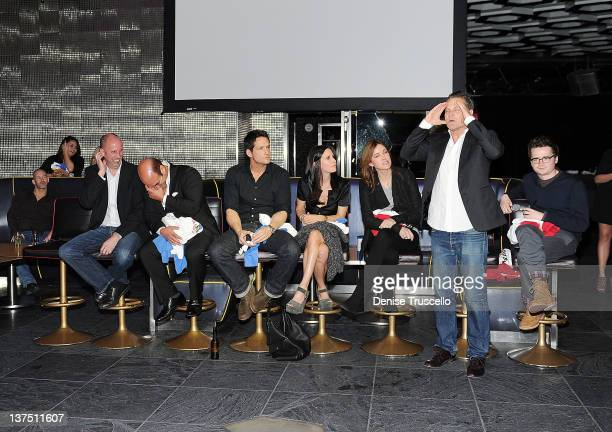 Bob Clendenin Ian Gomez Josh Hopkins Courteney Cox Christa Miller Brian Van Holt and Dan Byrd from the cast of ABC's Cougar Town Q A at Moon...
