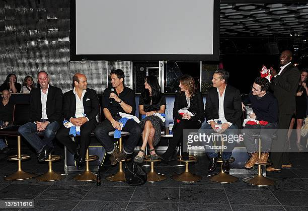 Bob Clendenin Ian Gomez Josh Hopkins Courteney Cox Christa Miller Brian Van Holt Dan Byrd and Bill Lawrence from the cast of ABC's Cougar Town Q A at...
