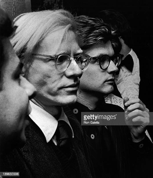 Bob Colacello Andy Warhol and Vincent Freemont attend the premiere party for 'Jonathan Livingston Seagull' on October 23 1973 at the Waldorf Astoria...