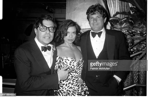 Bob Colacello Bianca Jagger and Jann Wenner at the Vanity Fair party at the Diamond Horseshoe at the Paramount Hotel February 29 1988