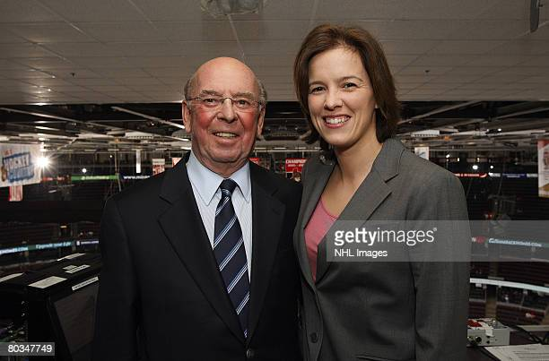 Bob Cole playbyplay commentator for Hockey Night in Canada on CBC with Cassie Campbell former Canadian Olympian and color analyst for Hockey Night in...