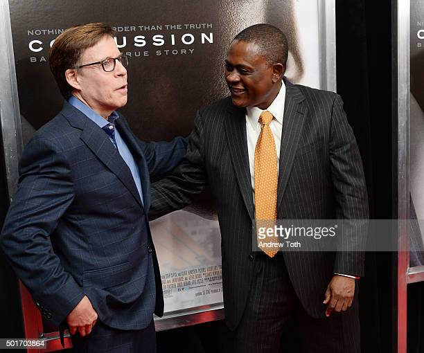 Bob Costas and Dr Bennet Omalu attend the Concussion New York premiere at AMC Loews Lincoln Square on December 16 2015 in New York City
