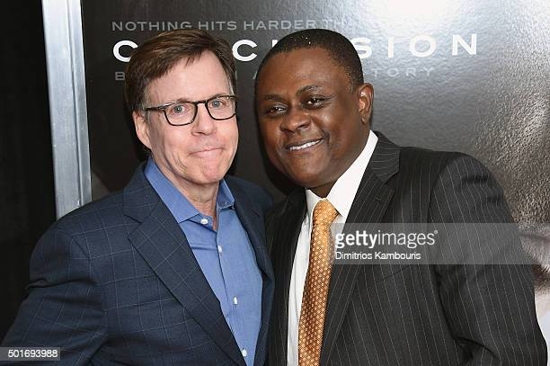 Bob Costas and Dr Bennet Omalu attend theConcussion New York Premiere at AMC Loews Lincoln Square on December 16 2015 in New York City