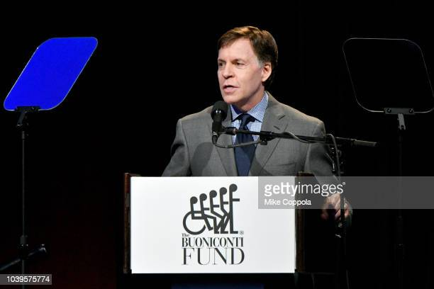 Bob Costas speaks on stage during the 33rd Annual Great Sports Legends Dinner which raised millions of dollars for the Buoniconti Fund to Cure...