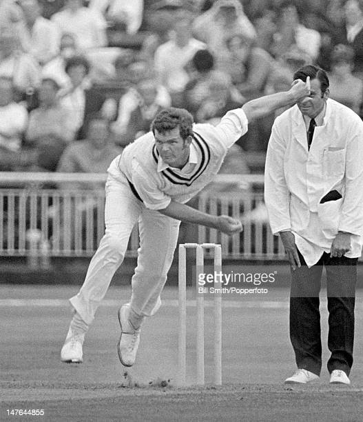 Bob Cottam bowling for Hampshire during their Gillette Cup 3rd round match against Lancashire at Old Trafford in Manchester 8th July 1970 Lancashire...
