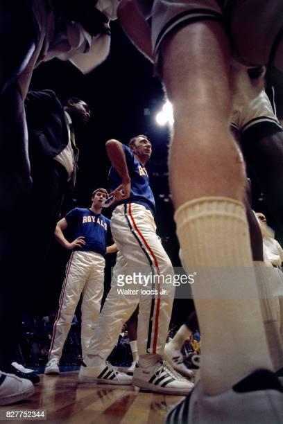 Bob Cousy of the Cincinnati Royals huddles his team up before a game at the Cincinnati Gardens in Cincinnati Ohio circa 1970 NOTE TO USER User...