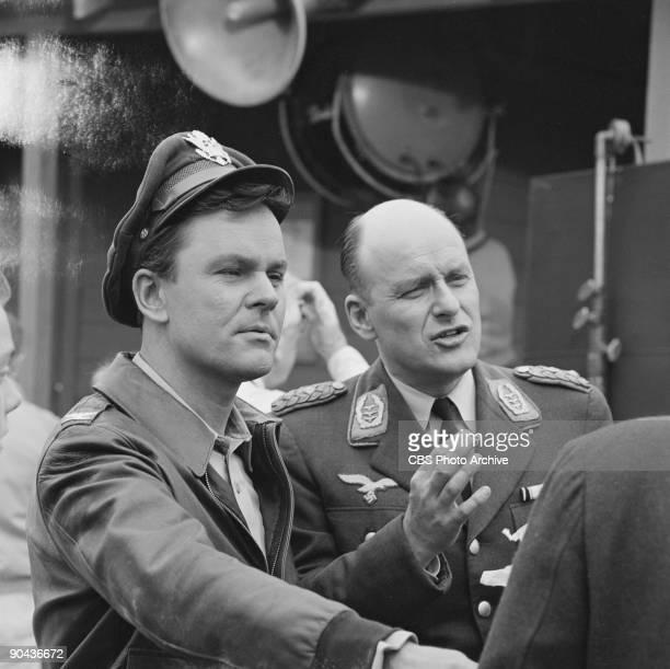 HEROES Bob Crane as Col Robert E Hogan left Werner Klemperer as Col Wilhelm Klink in �The Late Inspector General� June 22 1965