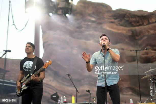 MORRISON CO JULY 1 Bob Crawford and Scott Avett of The Avett Brothers perform at Red Rocks Amphitheatre on July 1 2018 in Morrison Colorado