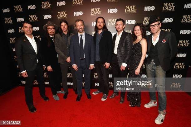 Bob Crawford Joe Kwon Seth Avett Judd Apatow Michael Bonfiglio Scott Avett Tania Elizabeth and Mike Marsh attend the New York Premiere of 'May It...