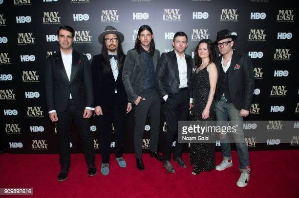 Bob Crawford Joe Kwon Seth Avett Scott Avett Tania Elizabeth and Mike Marsh of The Avett Brothers attend HBO's 'May It Last A Portrait of The Avett...