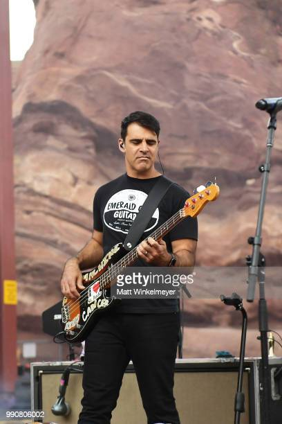 MORRISON CO JULY 1 Bob Crawford of The Avett Brothers performs at Red Rocks Amphitheatre on July 1 2018 in Morrison Colorado