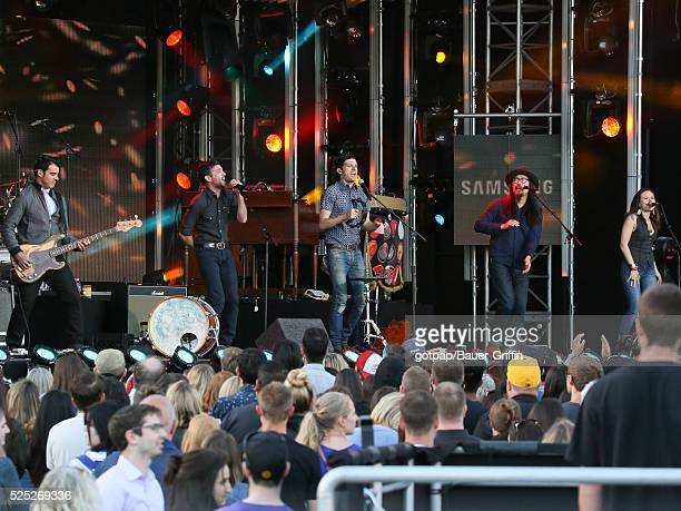 Bob Crawford Scott Avett Seth Avett and Joe Kwon of 'The Avett Brothers' are seen performing live on stage at 'Jimmy Kimmel Live' on April 27 2016 in...