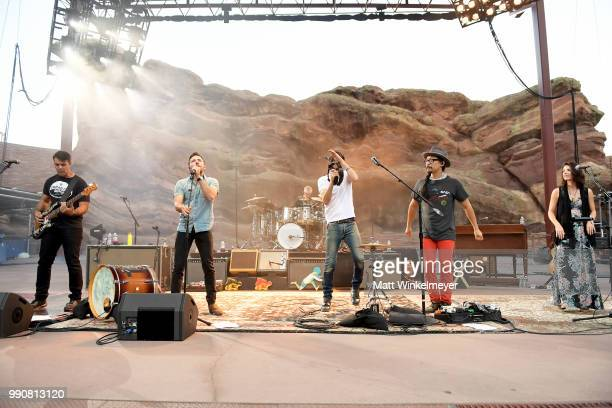 MORRISON CO JULY 1 Bob Crawford Scott Avett Seth Avett and Joe Kwon of The Avett Brothers perform at Red Rocks Amphitheatre on July 1 2018 in...