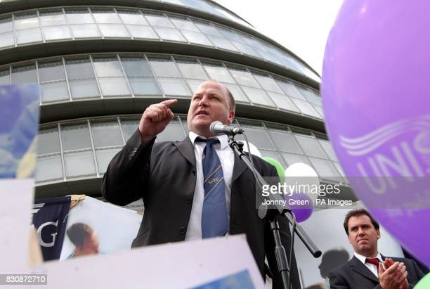 Bob Crow the General Secretary of the railways union RMT speaks at a joint unions' rally outside the Greater London Assembley building by Tower...