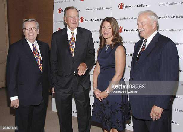 Bob Daly former US President George Bush Sr Melinda Gates and President and CEO of Save the Children Charles MacCormack attend the 75th Anniversary...