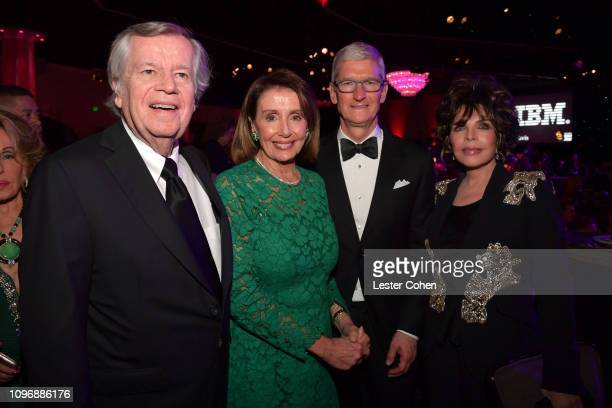 Bob Daly Nancy Pelosi Tim Cook and Carole Bayer Sager attend the PreGRAMMY Gala and GRAMMY Salute to Industry Icons Honoring Clarence Avant at The...
