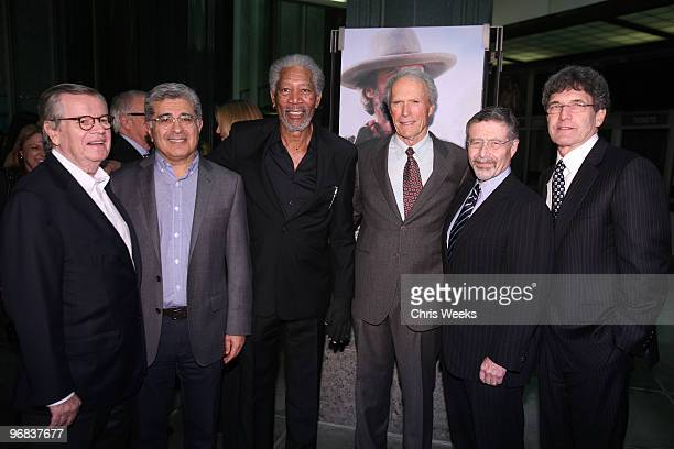 Bob Daly Terry Semel Morgan Freeman Clint Eastwood Barry Meyer and Alan Horn attend an evening with Clint Eastwood hosted by Warner Bros LACMA and...