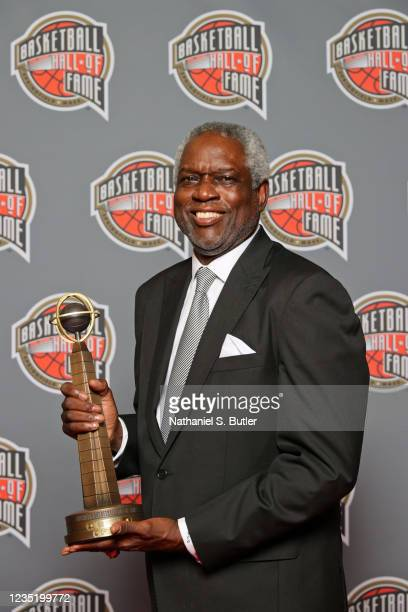 Bob Dandridge poses for a portrait with the Hall of Fame Trophy after the 2021 Basketball Hall of Fame Enshrinement Ceremony on September 11, 2021 at...