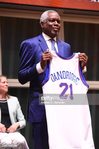 Bob Dandridge poses with jersey as he is announced as a honoree as part of the Class of 2021 on May 16, 2021 at the Naismith Memorial Basketball Hall...