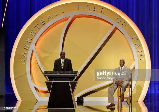 Bob Dandridge speaks during the 2021Naismith Memorial Basketball Hall of Fame ceremony presented by Oscar Robertson at Symphony Hall on September 11,...