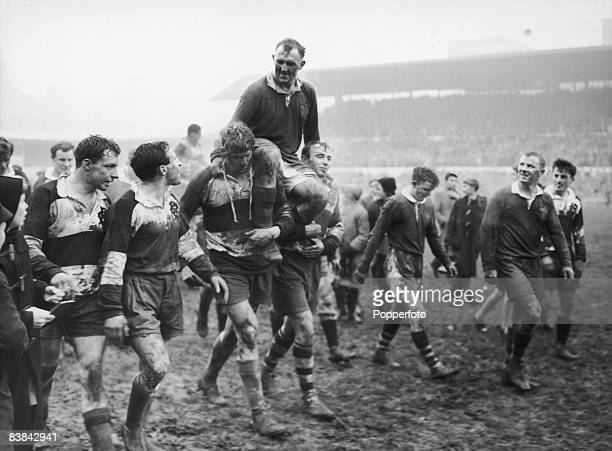 Bob Davidson captain of the Australia national rugby union team or 'Wallabies' is carried off the field by opposing players after a match against...