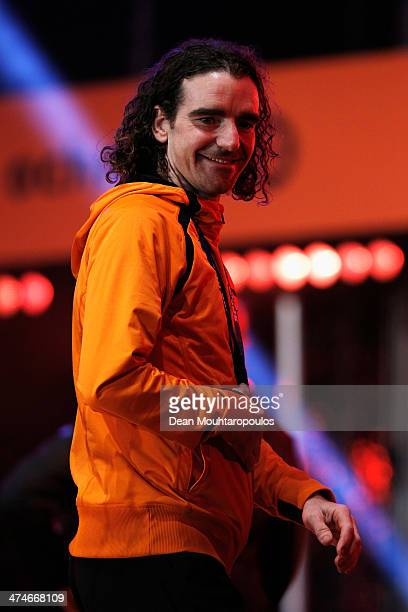 Bob de Jong celebrates on the main stage during the Welcome Home Reception Held For Dutch Winter Olympic Athletes on February 24 2014 in Assen...