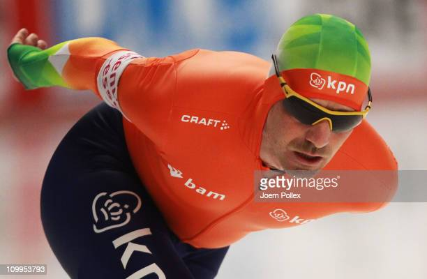 Bob de Jong of Netherland competes in the 5000m heats during Day 2 of the Essent ISU Speed Skating World Cup at the Max Aicher Arena on March 11 2011...
