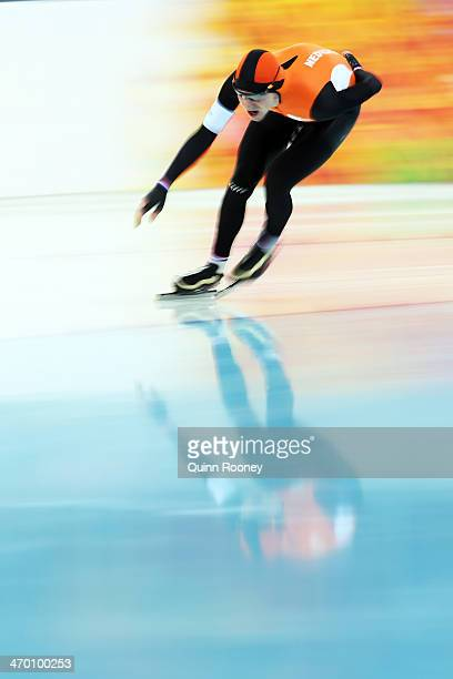 Bob de Jong of the Netherlands competes during the Men's 10000m Speed Skating event on day eleven of the Sochi 2014 Winter Olympics at Adler Arena...