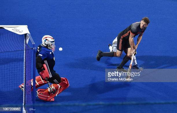 Bob de Voogd of Netherlands sees his shot saved during the FIH Men's Hockey World Cup Pool D match between Netherlands and Malaysia at Kalinga...