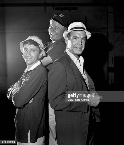 Bob Denver Alan Hale Jr and Fred MacMurray in a promo to announce the CBS television shows Gilligan's Island and My Three Sons on Thursday nights...