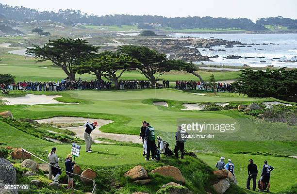 Bob Diamond tees off on the 11th hole during round one of the ATT Pebble Beach National ProAm at Monterey Peninsula Country Club Shore Course on...