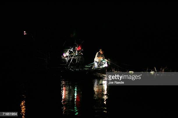 Bob Dombroski snares an alligator on the first day of the alligator hunting season August 15 2006 on Lake Okeechobee near Belle Glade Florida This...