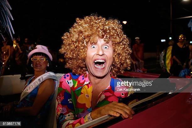 Bob Downe celebrates during the 2016 Sydney Gay Lesbian Mardi Gras Parade on March 5 2016 in Sydney Australia The Sydney Mardi Gras parade began in...