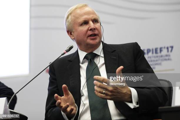 Bob Dudley chief executive officer of BP Plc gestures as he speaks in a panel session during the St Petersburg International Economic Forum at the...