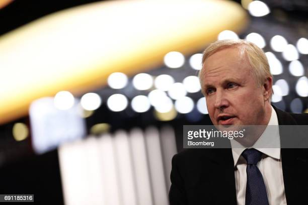 Bob Dudley chief executive officer of BP Plc speaks in a Bloomberg Television interview during the St Petersburg International Economic Forum at the...