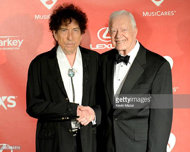 Bob Dylan and former United States President Jimmy Carter attend the 25th anniversary MusiCares 2015 Person Of The Year Gala honoring Bob Dylan at...