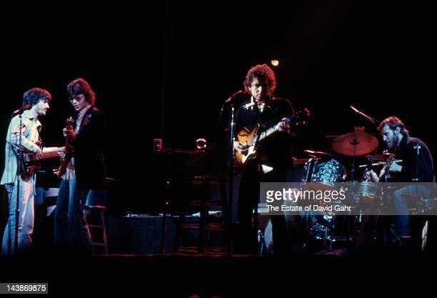 Bob Dylan and The Band perform at Chicago Stadium in January 1974 in Chicago Illinois