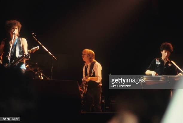 Bob Dylan and Tom Petty and the Heartbreakers perform at the Hubert H Humphrey Metrodome in Minneapolis Minnesota on June 26 1986