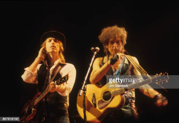Bob Dylan and Tom Petty perform at the Hubert H Humphrey Metrodome in Minneapolis Minnesota on June 26 1986