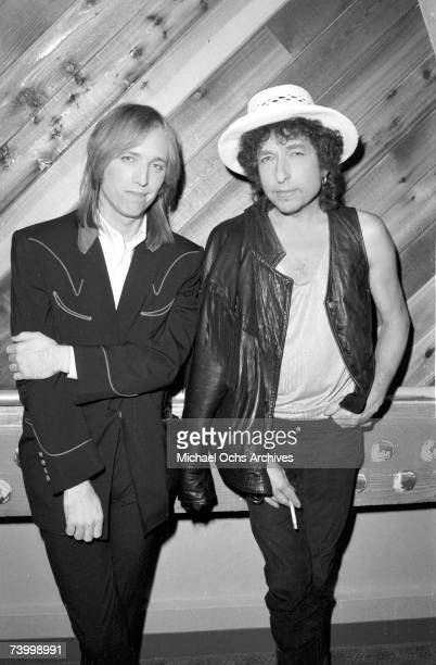 Bob Dylan and Tom Petty pose for a portrait at Westwood One studios where they are promoting their 'True Confessions' tour in the October 1986