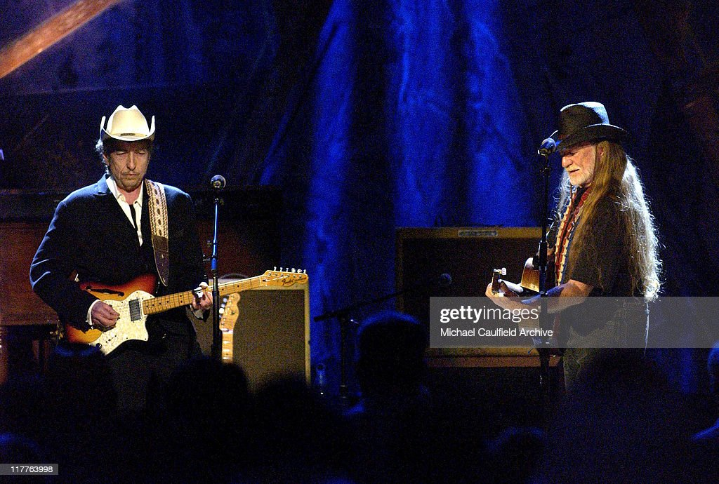 Bob Dylan and Willie Nelson during Willie Nelson and Friends: 'Outlaws & Angels' - Show and Backstage at Wiltern Theatre in Los Angeles, California, United States.