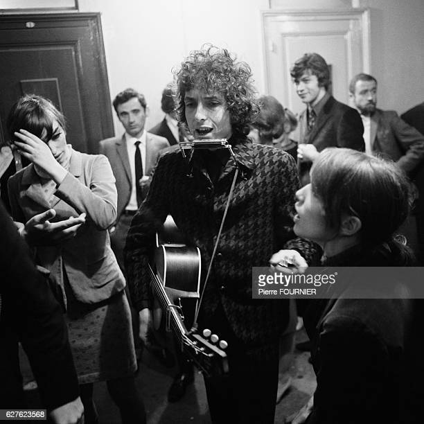 Bob Dylan backstage at the Olympia music hall.