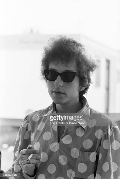Bob Dylan backstage during the afternoon rehearsals for his renowned electric performance that evening at the Newport Folk Festival on July 25 1965...