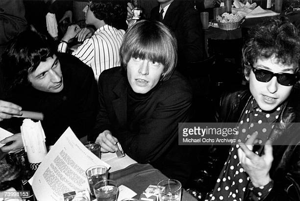 Bob Dylan hanging out with Brian Jones in a restaurant in circa in New York City New York
